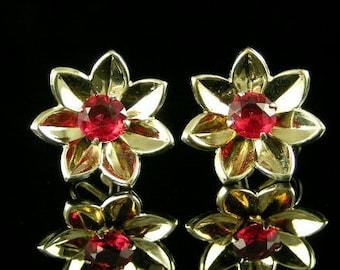 Red Rhinestone Silver Vermeil Vintage Earrings