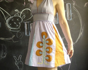 Hand Sewn Gland Dress Recycled Fabric Small\/ Medium