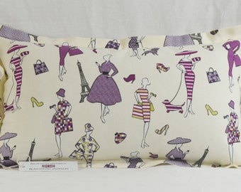 "Glamour Grape Oblong Rectangle Cushion 21"" x 13"" Cotton Purple, Lilac Fuchsia"