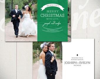 Christmas Card Template: Love & Peace A - 5x7 Holiday Card Template for Photographers