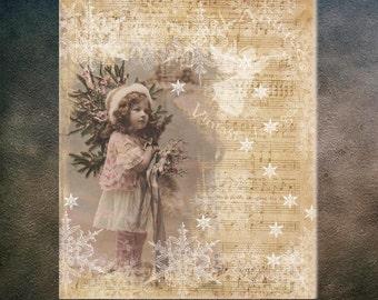 Vintage Christmas Large Snowflake Printable Collage Digital Download