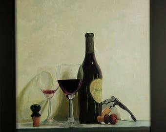 Original Fine Art Oil Painting  Still life Corkscrew and Wine