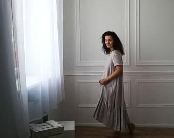 linen dress, ruffle dress, grey dress, linen ruffle dress, natural fabric, long dress, maxi dress, oversize dress, comfy dress