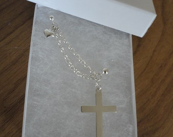 Cross and heart double piercing earring