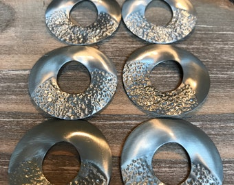 Round silver metal hammer stamped jewelry supplies/Set of 8