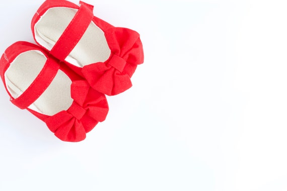 Red Mary Jane soft sole baby girl shoes, with over sized bow. bridesmaid shoe, toddler and pre walker