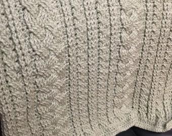 Handmade cable crochet throw