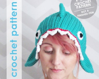 crochet pattern, crochet shark, crochet headband, shark headband, shark hat, shark week, sharks, shark gift,  halloween costume, diy gift