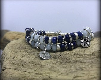 Serene Blues - Sterling Silver, Aquamarine and Lapis Double Wrap Bracelet