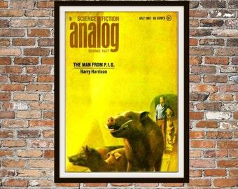 Sci fi Print Poster, Analog Vintage Magazine Print, Vintage Print, Dime Magazine, Analog Magazine Sci-Fi Art Item 0191