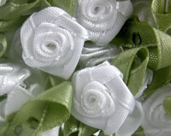 WHITE Rosebuds Roses Wedding Card Embellishments Rose buds card Craft Sewing 25  50 100 500