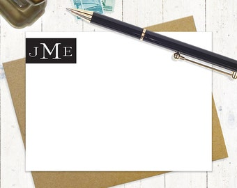 personalized stationery set - STATELY MONOGRAM - set of 12 flat note cards - stationary - monogrammed