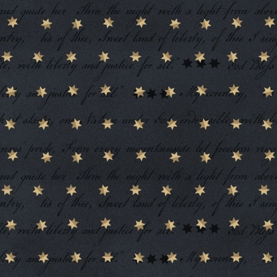 Creme Folk Stars and Stripes On Vintage Blue Background, Patriotic Quilt Fabric, Spirit Of America, Stacey West, Buttermilk Basin 8866 77
