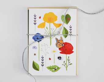 Set of 4 A6 floral & wildlife botanical illustrated card set - poppies / butterfly / lavender / bee / ladybird / mini print