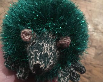 Green fluffy tinsel knitted hedgehog child friendly green face soft touch christmas hedgehog soft stuffing typical uk hedgehog style