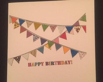 Happy Birthday Banner Bunting Card Square Personalised Custom Handmade