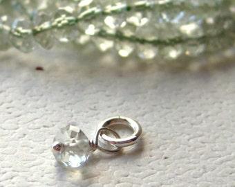Faceted Light Green Prasiolite Gemstone Dangle Charm