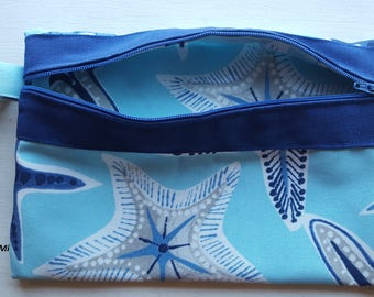 "Fun ""Starfishes in the ocean"" wristlet (made with outdoor fabric)"