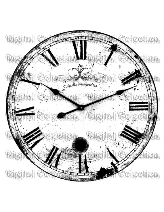 Antique Clock Engraving PNG Prints Image