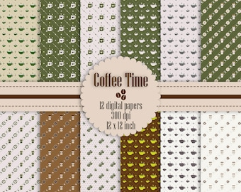 12 Coffee Time Digital Papers in 12 inch Instant Download, Coffee Time Pattern, Cookies Pattern, High Resolution Digital Papers