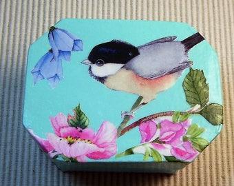 Decoupage trinket box with chickadee and flowers