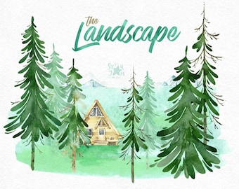 The Landscape. Watercolor clipart, forest, mountains, house, trees, travel, adventure, wanderlust, wild, country, nature, art, field