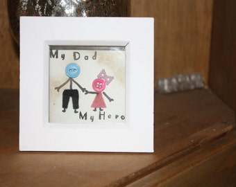 My dad, my hero white box frame - perfect for Father's Day
