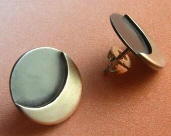 Small Sterling Silver Moon Earrings, Contemporary Earrings, Silver Post Earrings, Silversmith Jewelry, Silver Stud Earrings, Moon Studs