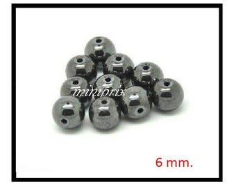 X 10 black 6mm round Hematite beads.