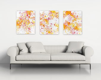 Original Abstract Triptych, Acrylic on three 16x20 canvases, Large Wall Art Modern Home Decor by Jessica Torrant, white red pink yellow