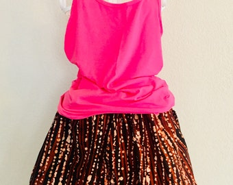 African Romp Skirt - A Line - Elastic waist - brown/maroon- dyed - with pockets