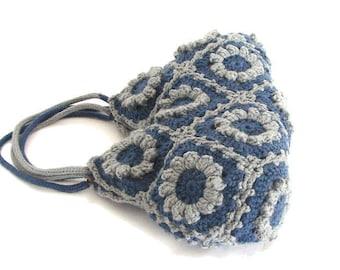 Denim blue flowers tote bag crochet shoulder purse granny squares crochet purse everyday tote floral handbag boho crochet bag summer tote