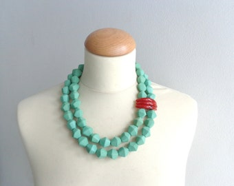 Green Red statement necklace double strand necklace, chunky necklace