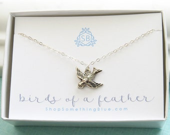 BFF Gift • Bird In Flight Necklace • Song Bird Charm • Birds Of A Feather • Best Friend Gift • Sisters • Mother Daughter Gift