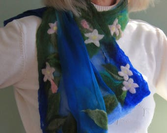 Mayflower edged felted silk and supersoft wool scarf