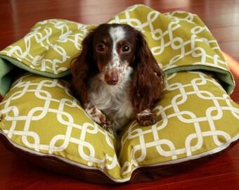 BUNBED w/ COVER Burrow Snuggle Sack Pocket Bed, Modern Green Squares and Sage Fleece, Bunbed Dachshund Dog Bed, Dachshund Bed, Dog Bed