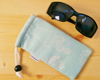 Glasses case,sunglasses case,cactus case,turquoise case,quilted glasses case,sunglasses cover,glasses bag,glasses soft case,blue glasses