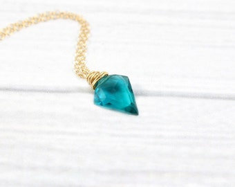 Gemstone Necklace, Minimalist Necklace, Dainty Necklace, Stone Necklace, Arrowhead Necklace, Gold Filled, Sterling Silver, London Blue Topaz