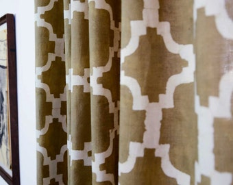 "Window Curtain, geometric curtains, tile pattern, taupe browne curtains, Lattice Ogee printed drapes, shades, panels  44"" x 84""-CHAIN LINK"
