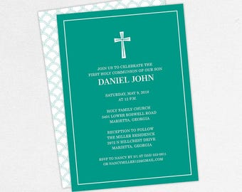 First Communion Invitation, First Holy Communion Invitation, Religious, Printed, PDF, DIY Communion Invitation, Boy Invitation, Teal, Daniel