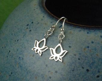 Lotus flower charm earrings in sterling silver, namaste, flower earrings, sterling silver charm