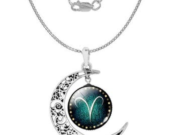 Aries 925 Silver Crescent Moon Necklace