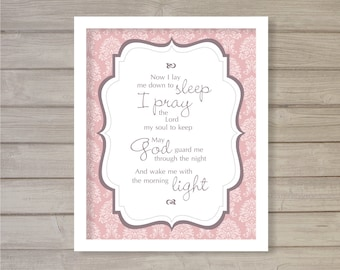 Bedtime Prayer Nursery Print -8x10- Baby Shower Gift Pink Children Room Decor Instant Download Digital Printable Poster Typography Wall Art
