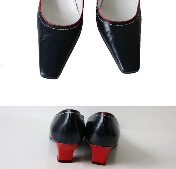 SANDRO VICARI Red Italy Made Kitten Leather Shoes Heels in Blue Navy OZ4rpxwqO