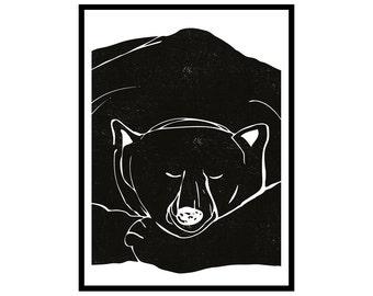 "SALE! Extra large poster Sleepy bear (50 x 70 cm/20"" x 28"")"