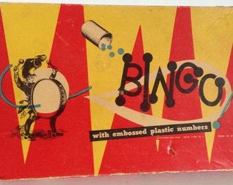 Vintage BINGO Game Embossed Numbers Pressman Toy Co 50s