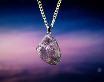 Amethyst Quartz Crystal Protection Amulet Necklace