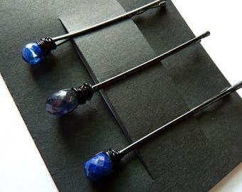 Blauer Edelstein Trio Bobby Pin Pack - etwas blau - Kyanit, Iolith, Lapislazuli