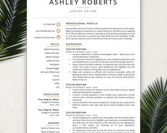 Resume Template, Modern Resume, Resumes, Free Resume Template, Cover Letter + References Included, Mac + PC Compatible
