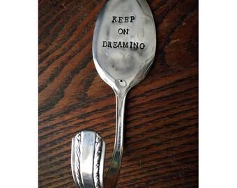 Repurposed Silverplate Spoon Hook- Dreaming